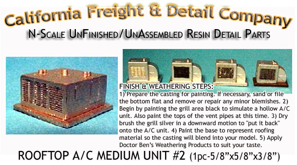 ROOFTOP A/C MEDIUM UNIT #2 (1pc) N/Nn3/1:160-Scale CALIFORNIA FREIGHT & DETAILS
