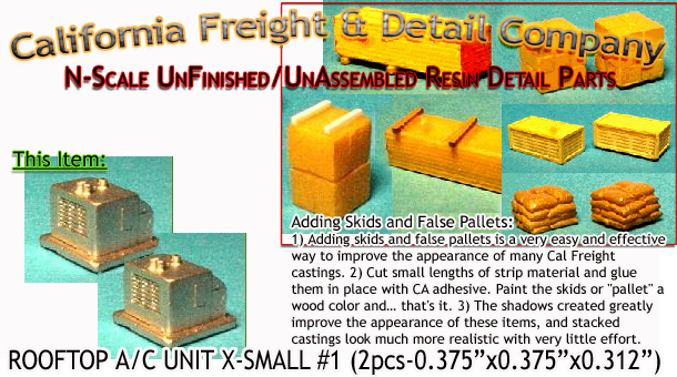 Rooftop Residential/Light Business X-Small A/C Unit #1 (2pcs) N/Nn3/1:160-Scale California Freight & Details Co.