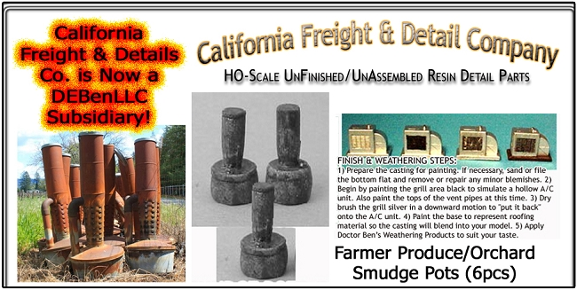 Farmer Produce/Orchard Smudge Pots (6pcs) California Freight & Details Co. HO/HOn3/HOn30-Scale