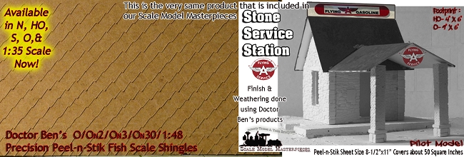 O Scale Precision Peel-n-Stik Shingles Doctor Ben's Scale Consortium O/On3/On30/1:48
