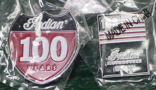 INDIAN MOTORCYCLE 100 ANNIVERSARY LAPEL PINS 1901-2001