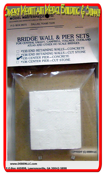 Model Masterpieces #135 Bridge Wall & Pier Set -- CENTER PIER-CONCRETE