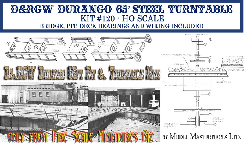 D&RGW Durango 65ft Pit & Steel Turntable Kits Model Masterpieces #120 HO/HOn3