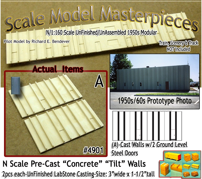Tilt-Up Spline Style Walls (A)-Two Small Ground Level Steel Doors (2pcs) SMM-N/Nn3