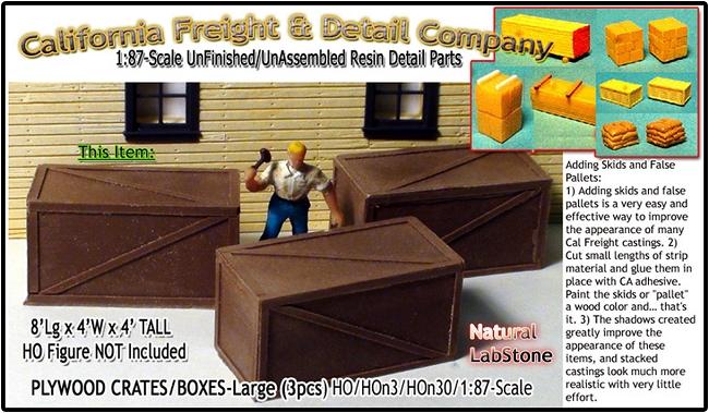 Plywood/Wooden Crates-XLarge (3pcs) Scale Model Masterpieces HO/HOn3/1:87