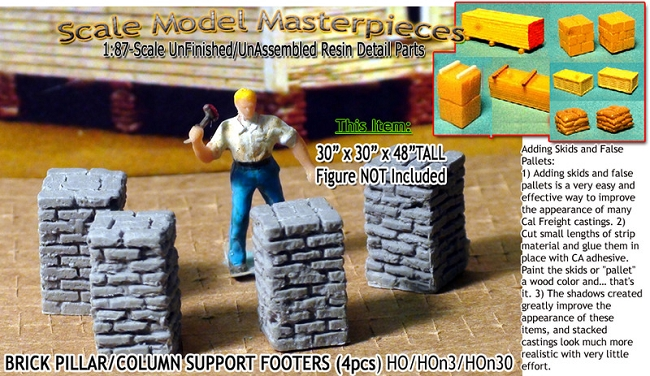 Brick Deck/Pillar/Column Support Footers (4pcs) Scale Model Masterpieces / Thomas A Yorke Ent. HO/1:87