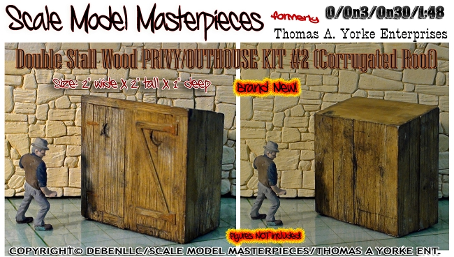 Double Stall Wood PRIVY/OUTHOUSE KIT #2 YORKE/Scale Model Masterpieces O/On3/On30 1:48/1:43 *NEW*