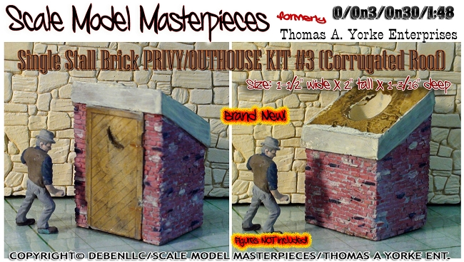 Single Stall Brick PRIVY/OUTHOUSE KIT #3 YORKE/Scale Model Masterpieces O/On3/On30 1:48/1:43 *NEW*