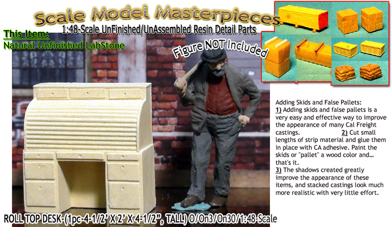 ROLL TOP DESK-(1pc) O/On3/On30/1:48-YORKE/Scale Model Masterpieces O/On3/On30 1:48/1:43 *NEW*