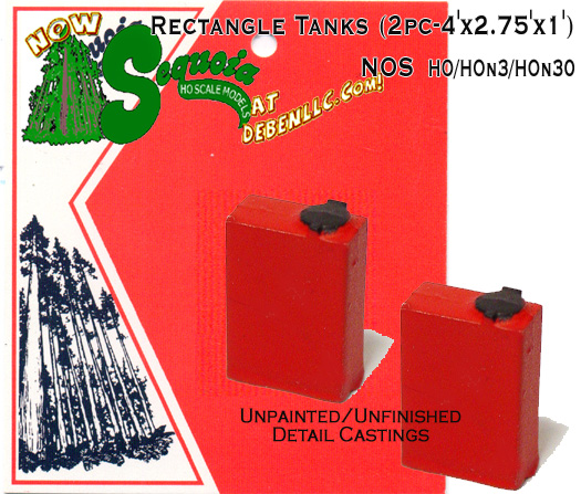 Rectangle Tanks (2pc) 4'x2.75'x1'- HO/HOn3/HOn2 Sequoia Models