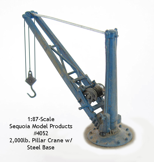 Heavy Duty Pillar Crane 2,000 lb w/Steel Base -HO/HOn3 Sequoia Models