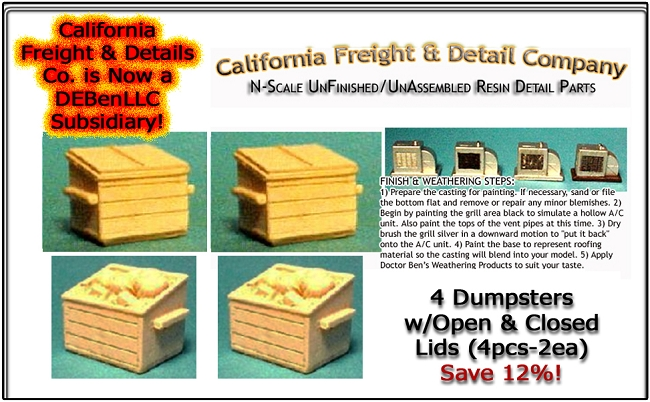 Dumpsters w/Open & Closed Lids (4pcs-2ea) N/Nn3/1:160-Scale California Freight & Details Co