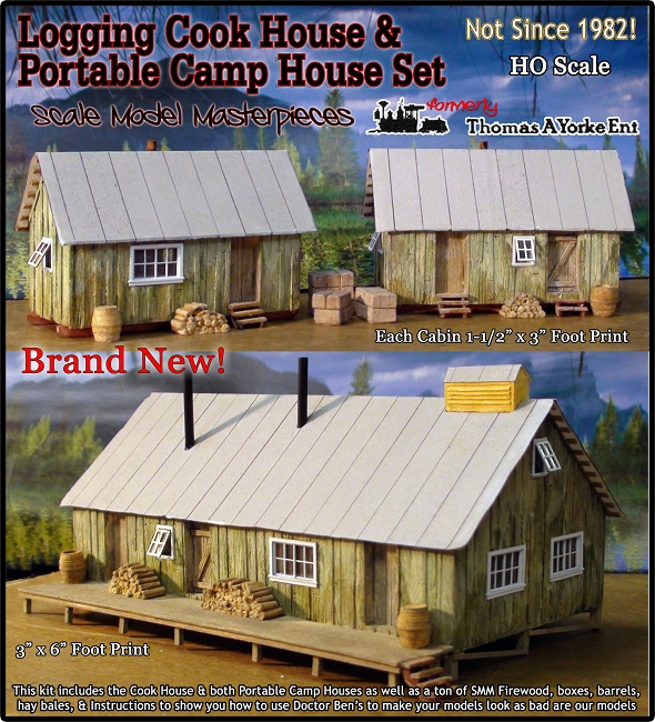 Logging camp cook house bunk house kit scale model for Bunk house kits