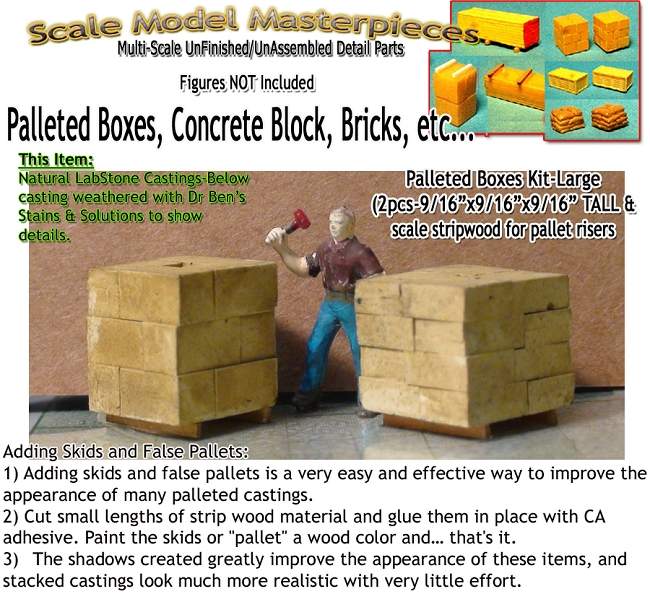 Card Board Boxes, Pallet Stacked-Large (3pcs) Scale Model Masterpieces / Thomas A Yorke Ent. HO/1:87