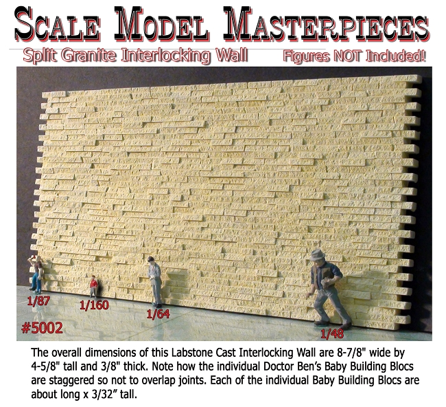 Split Granite Stone Wall Interlocking Scale Model