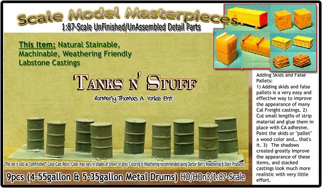 9-Piece Steel Drum/Barrel Detail Set-Scale Model Masterpieces/YORKE HO/HOn30