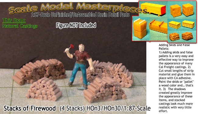 Firewood Stacks (4 Assorted Stacks) Scale Model Masterpieces HO/1:87