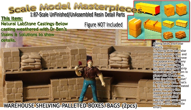 Warehouse Shelving-Palleted Boxes/Sacks-Open (2pcs) HO-Scale Model  Masterpieces