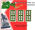 Windows 4/4 8 Pane  3pcs  HOn3/HOn30 Sequoia Models