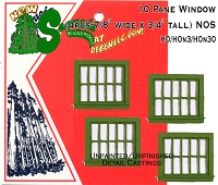 Station/Office WINDOWS--Horizontal SINGLE 10-Pane (4pcs) - SEQUOIA SCALE MODELS HO/HOn3/HOn2