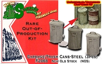 Garbage/Trash Cans-Steel (3pcs)-Scale Model Masterpieces HOn30/HOn3