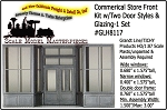 Commercial Store Front Kit w/Two Door Styles & Glazing-1 Set  Grandt Line/Tichy HO/1:87
