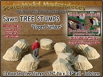 Sawn Tree Stumps-Assorted Sloped Surface (10pcs) Scale Model Masterpieces N/1:160