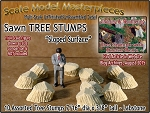 Sawn Tree Stumps-Assorted Sloped 10pcs Scale Model Masterpieces S/1:64