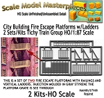 City Building Fire Escape Platforms w/Ladders-2 Kits NOS Tichy Train HOn3/HOn30