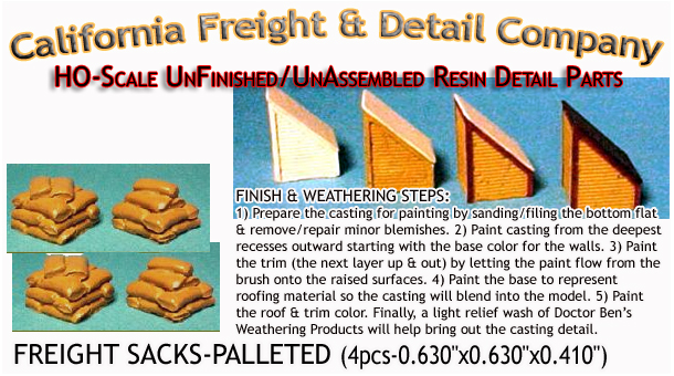 STACK O' SACKS-PARTIAL ON PALLET(4pcs) HO/HOn3/HOn30-Scale CAL FREIGHT & DETAILS