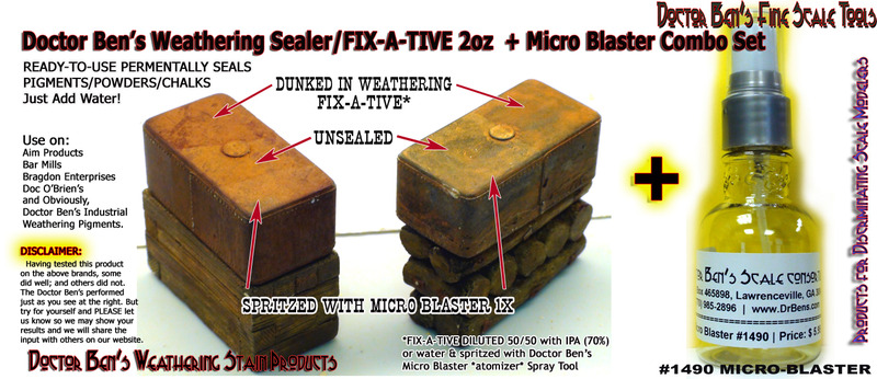WEATHERING SEALER/FIX-A-TIVE COMBO SET-PERMENTALLY SEALS PIGMENTS/POWDERS/CHALKS