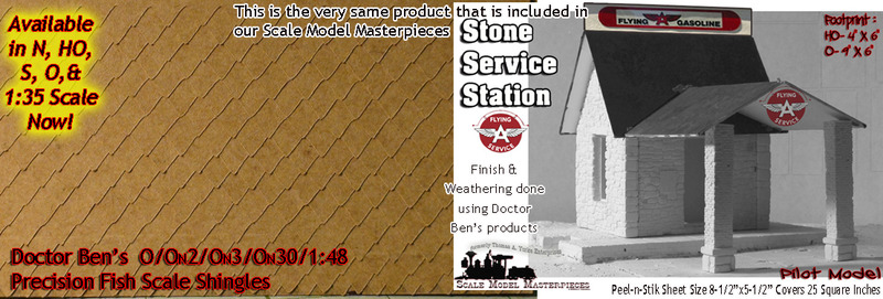 PRECISION FISH SCALE SHINGLES Doctor Ben's Peel-n-Stik O/On3/On2/On30 1:48