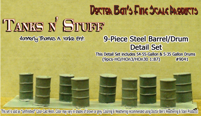 9-Piece Steel Drum/Barrel Detail Set-YORKE/SCALEMODEL MASTERPIECES HO/HOn3/HOn30