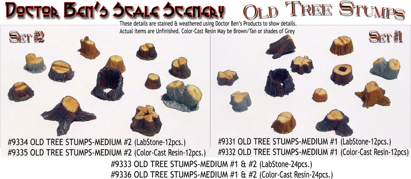 OLD TREE STUMPS--MEDIUM #1 (Labstone-12pcs) DOCTOR BEN'S SCALE 1/48-1/87-1/64