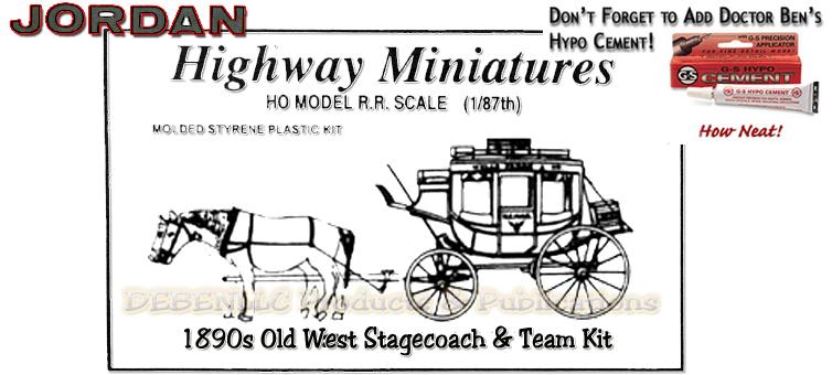 1890s Old West Stagecoach & Team Kit-Jordan Highway Miniatures HO/HOn3/HOn30