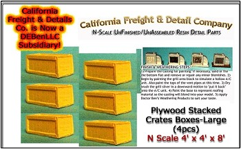 Plywood Crates/Boxes-Large (3pcs) N/Nn3/1:160-Scale California Freight & Details Co.