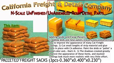 Stacked Freight Sacks (4pcs) N/Nn3/1:160-Scale California Freight & Details Co.