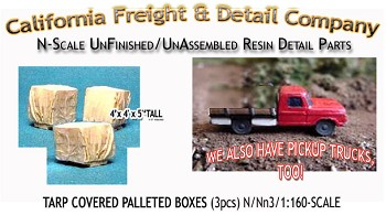 Tarp Covered Palleted Boxes (3pcs) N/Nn3/1:160-Scale California Freight & Details Co.