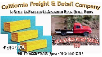 Milled Wood Lumber Stacks (3pcs) N/Nn3/1:160-Scale California Freight & Details Co.