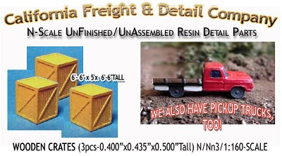 WOODEN CRATES/BOXES-LARGE (3pcs) N/Nn3/1:160-Scale CAL FREIGHT & DETAILS