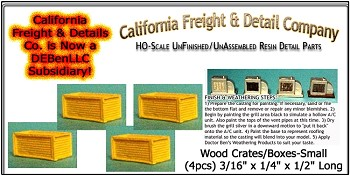 Wood Crates/Boxes-Small (4pcs) HO/HOn3/HOn30-Scale Model Masterpieces