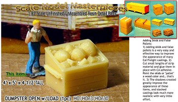Dumpster Open W/Load  (1pc) Scale Model Masterpieces / Thomas A Yorke Ent. HO/HOn3/HOn30