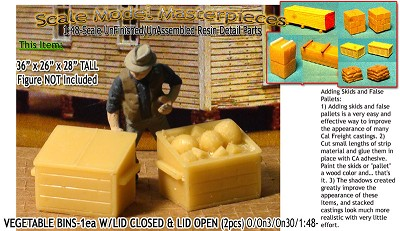 Wooden Vegetable/Produce Bins-Open /Closed (2pcs) Scale Model Masterpieces On3/On30/1:48
