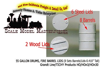 55 Gallon Steel Drums & Fire Barrel w/Lids (8-Sets) Grandt Line HO/HOn3/HOn30