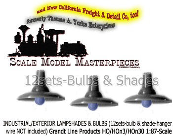 Industrial/Exterior Lampshades w/Bulbs (12Sets) Grandt Line Products HO/1:87 Scale