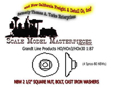 "NBW 2-1/2"" SQUARE NUT & CAST IRON WASHER (80nbws) Grandt Line HOn30/HOn3/1:87"