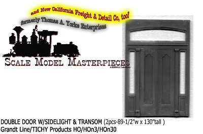 DOUBLE DOOR W/SIDELIGHT & TRANSOM (2pcs)-Grandt Line HO/HOn3