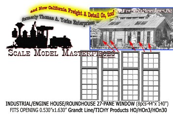 Industrial/Engine House/Roundhouse 27-Pane Windows (8pcs) Grandt Line/TICHY HOn3/HOn30