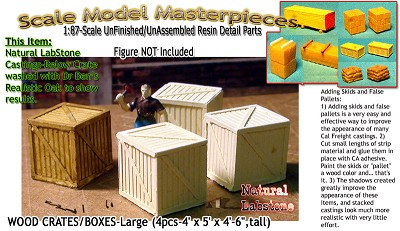 Wooden Boxes/Crates-Large (4pcs) Scale Model Masterpieces HOn3HO/n30-1:87