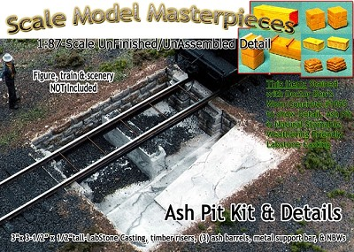 Ashpit & Details Kit for Enginehouse/Roundhouse Scale Model Masterpieces HO/HOn3/HOn30